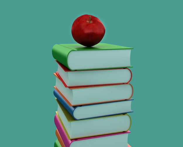 3d books pile with apple