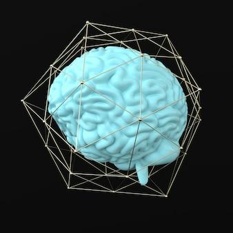 3d脳レンダリングイラストテンプレートの背景