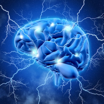 3d brain with lightening