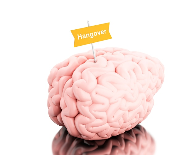 3d brain with a signboard and word hangover.