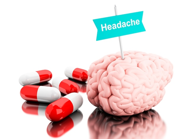3d brain with some pills and signboard with the word headache.
