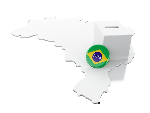 3d brazil map with ballot box. elections 2018.