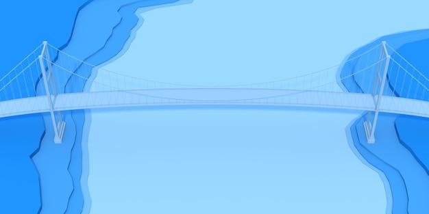 青いトポロジーの背景に3dブリッジ