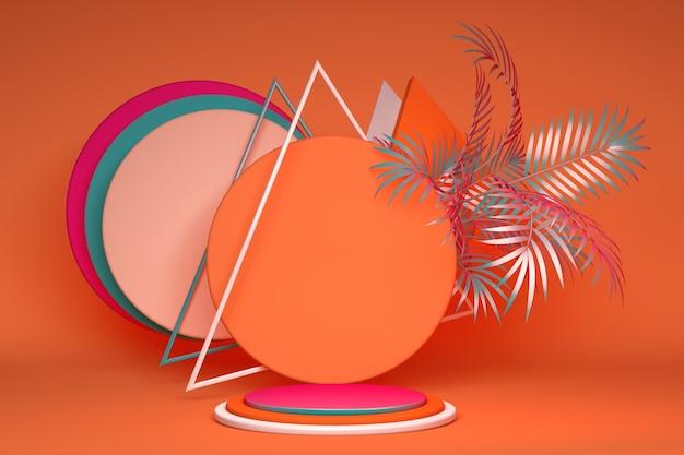 3d 밝은 분홍색과 주황색 연단은 화장품 및 제품 신발 가방 시계 광고 쇼케이스 열대 추상 종려 잎이있는 기하학적 배경에 서 있습니다.