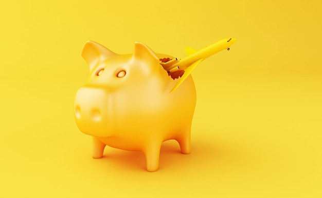 3d broken piggy bank
