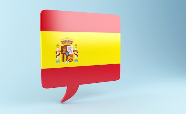 3d bubble speech with spain flag.