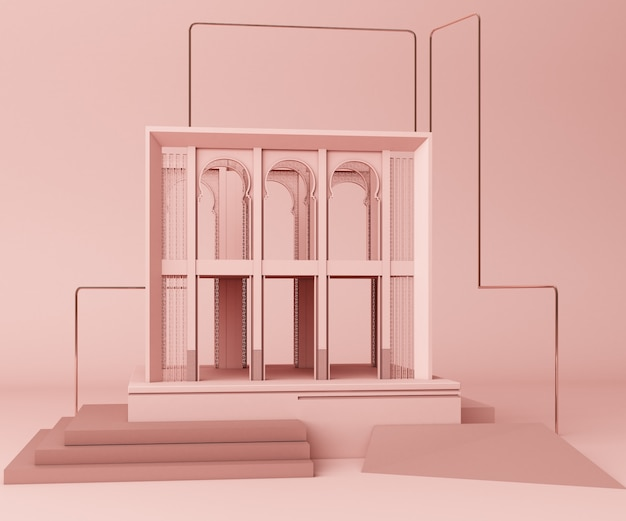3d building on pink