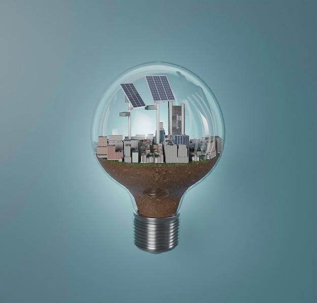 Lampadina 3d con progetto di risparmio energetico