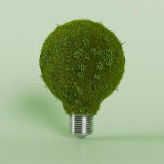 3d bulb with foliage