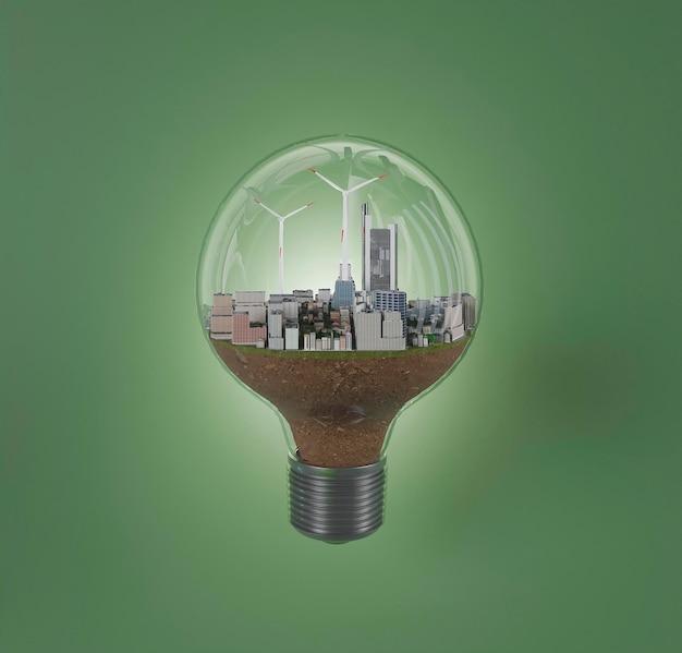 에너지 절약을위한 풍차 프로젝트가있는 3d 전구 프리미엄 사진