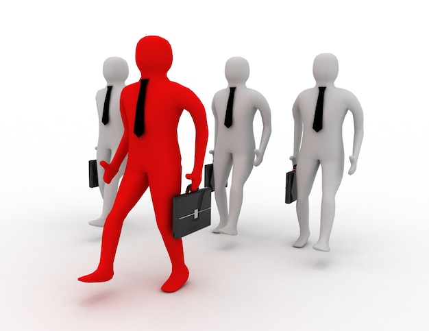 3d 사업가 걷기. 팀 개념
