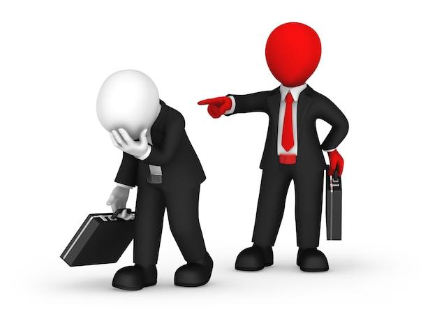 3d бизнес-люди. ты уволен! 3d иллюстрации.