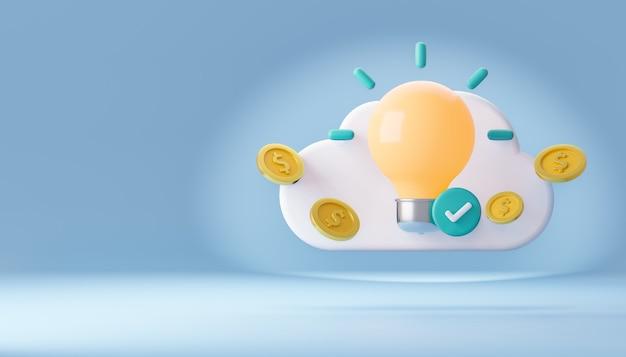 Шарик лампы бизнес-идеи 3d с золотой монеткой на облаке. 3d визуализация иллюстрации.