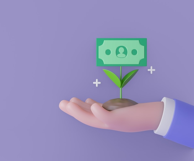 3d деловой человек рука деньги завод с цветком банкноты на фиолетовом фоне. экономия денег, онлайн-платежи и концепция оплаты. 3d визуализация иллюстрации.