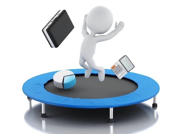 3dビジネスの人々、トランポリンの成功のために幸せなジャンプ。