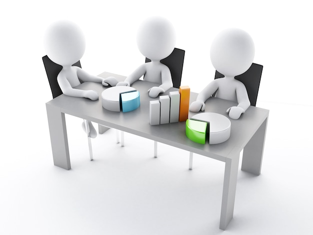 3d business people in a office meeting room.