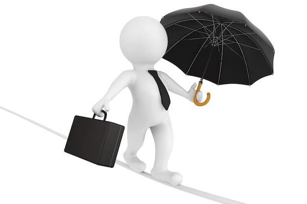 3d деловой человек уравновешивается портфелем и зонтиком на белом фоне