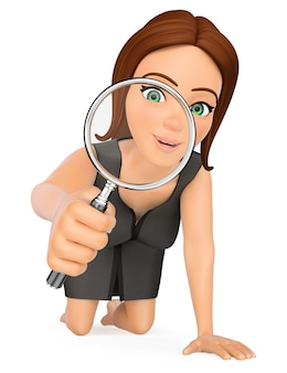 3d business woman kneeling looking through a magnifying glass