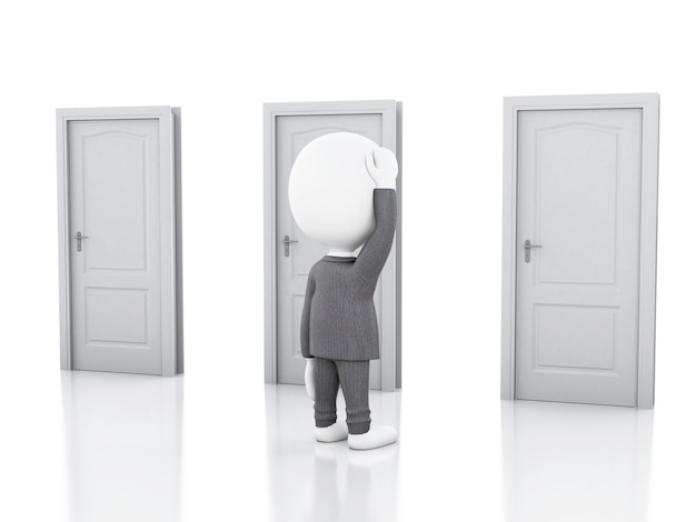 3d 사업가 및 의심스러운 세 문. 선택의 개념
