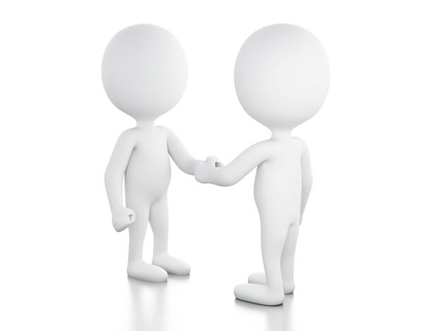 3 dの実業家が握手しています
