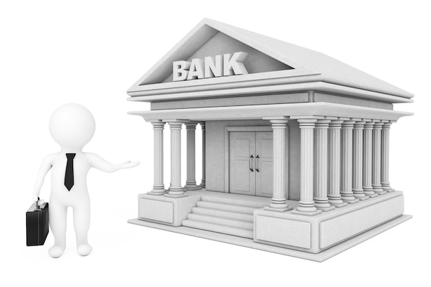 3d businessman characters inviting in bank building on a white background. 3d rendering.