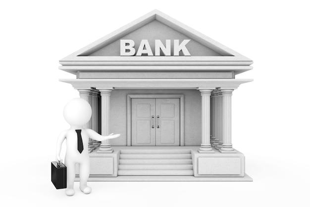 Персонажи 3d бизнесмен, приглашая в здание банка на белом фоне. 3d-рендеринг.