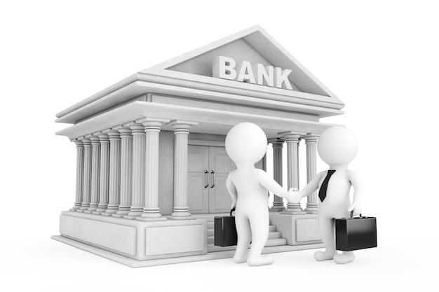 白い背景の上の銀行の建物の近くで握手する3dビジネスマンのキャラクター。 3dレンダリング。