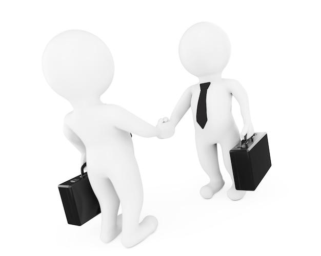 白い背景に握手する3dビジネスマンのキャラクター。 3dレンダリング