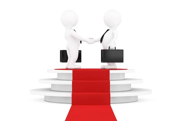 Персонажи 3d бизнесмен, пожимая руки над круглым белым пьедесталом со ступенями и красной ковровой дорожкой на белом фоне. 3d рендеринг