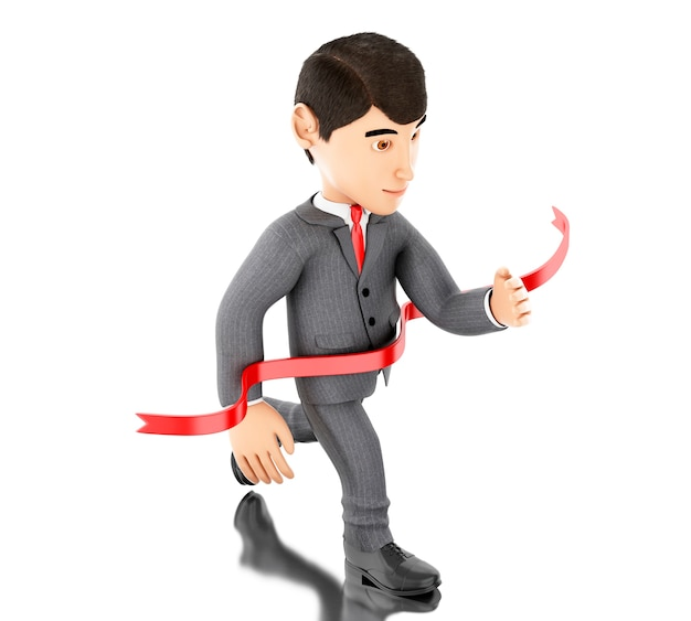 3d businessman crossing the finishing line. success concept.