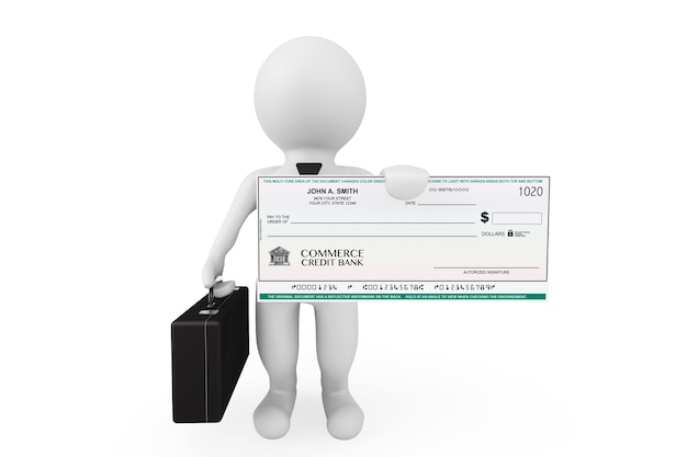 3d businessman hold banking check on a white background