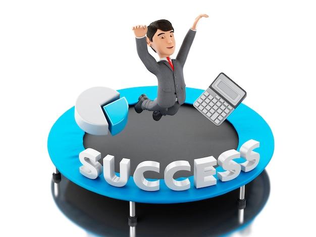 3dビジネスマンは、単語の成功とトランポリンにジャンプします。