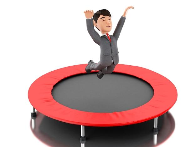 3dトランポリンにジャンプするビジネスマン。