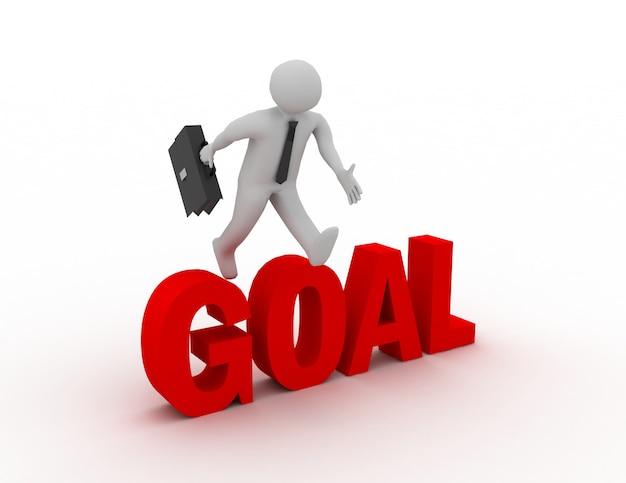 3d бизнесмен, перепрыгивая через слово «цель» на белом фоне