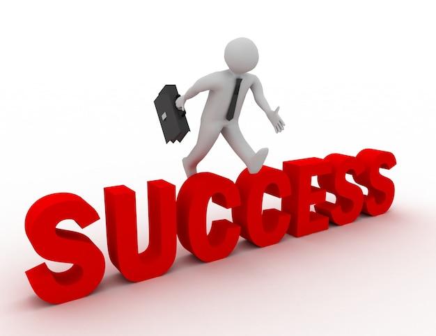 白い背景で「成功」の単語を飛び越える3dビジネスマン