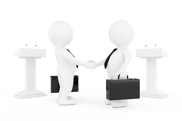 白い背景の上のtribunesの近くで握手する3dビジネスマンまたは政治家のキャラクター。 3dレンダリング