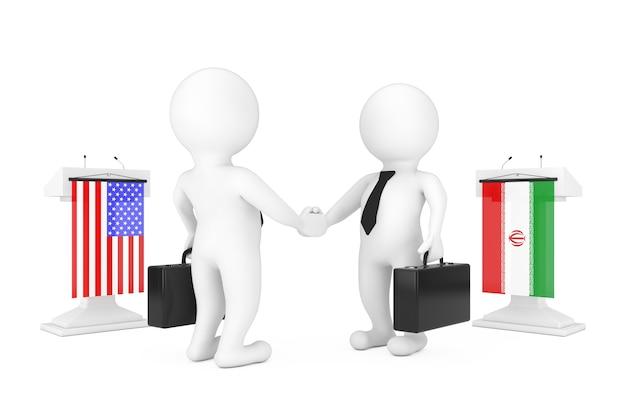 흰색 배경에 이란과 미국 국기가 있는 트리뷴 근처에서 악수하는 3d 사업가 또는 정치인 캐릭터. 3d 렌더링