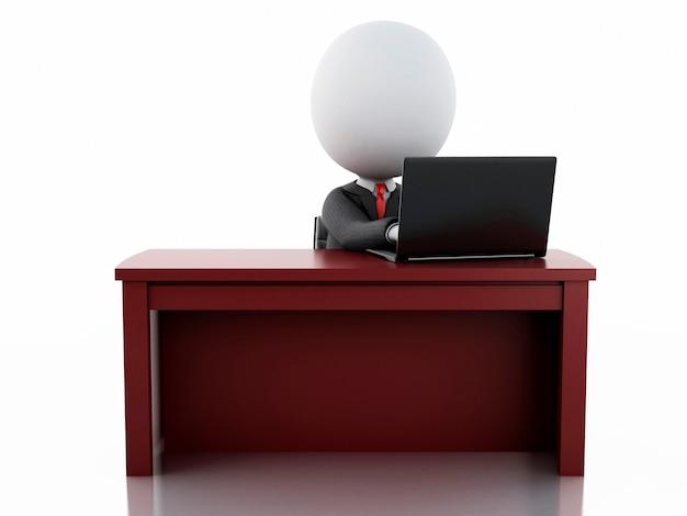オフィスで働く3dビジネスマン