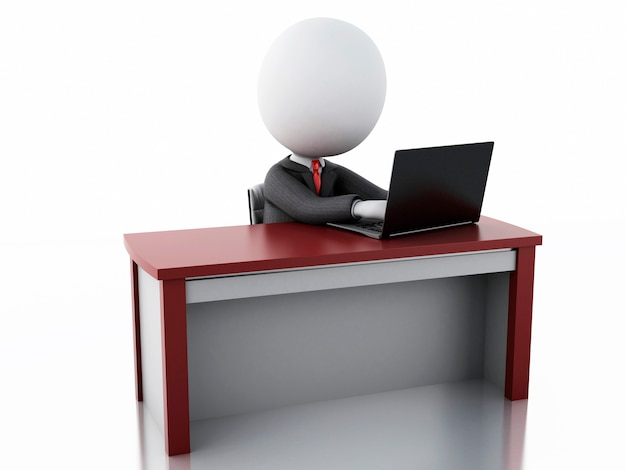3d businessman people working at office