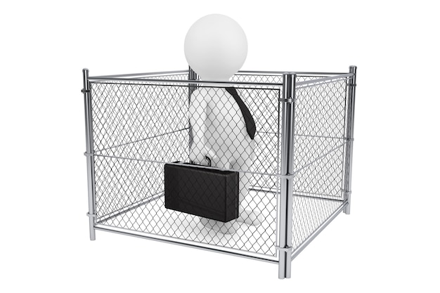3d businessman person inside a wired fence on a white background