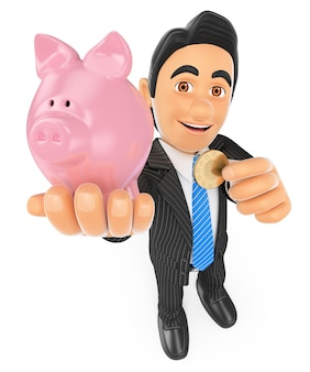 3d businessman putting a coin in a piggy bank. concept of saving