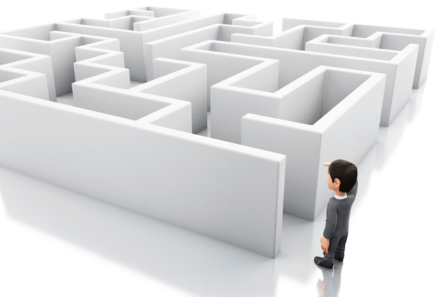 3d businessman standing in the entrance of a maze.