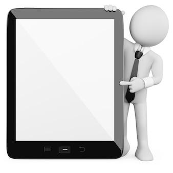 3d businessman - tablet