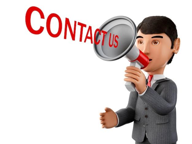3d бизнесмен с мегафоном и слово свяжитесь с нами.