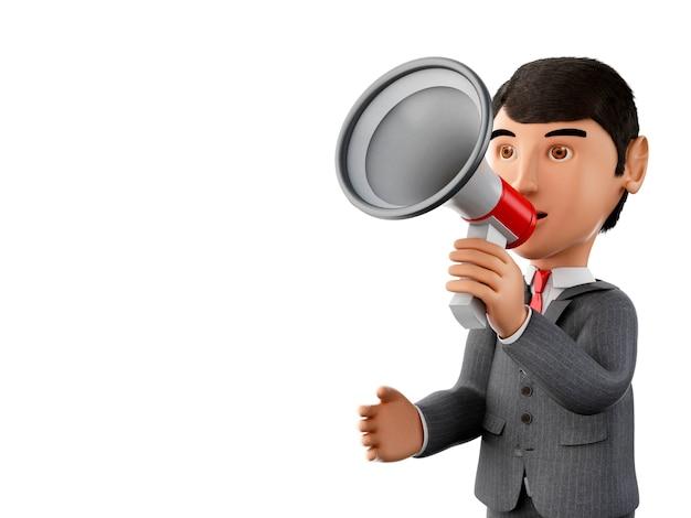 3d бизнесмен с мегафоном. бизнес-концепция.
