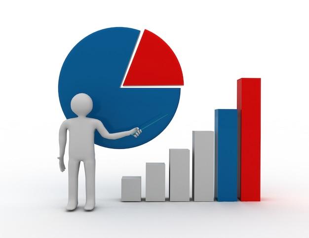 3d бизнесмен с концепцией graph.success