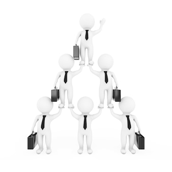 3dビジネスマンチームキャラクターピラミッドは、白い背景に階層とチームワークを表示します。 3dレンダリング