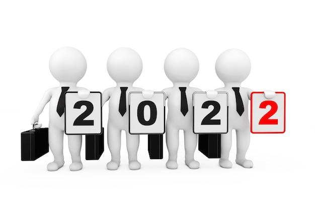 白い背景の上の新しい2022年のサインを持つ3dビジネスマン。 3dレンダリング