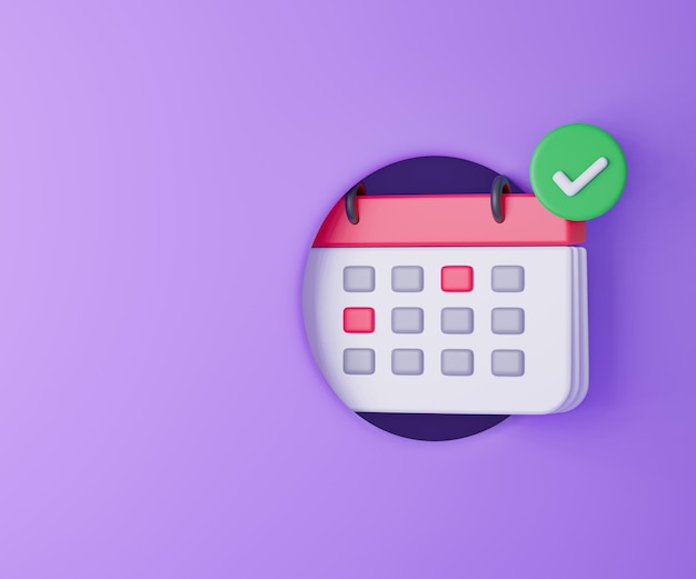 3d calendar icon with check mark on purple background. 3d rendering illustration