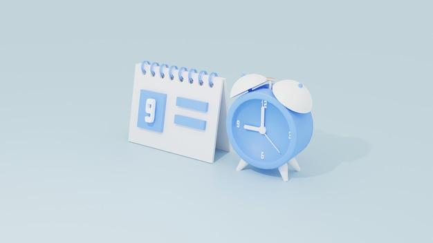 スケジュールイベントまたはオーガナイザーの作業時間の概念のための3dカレンダーと目覚まし時計、ソフトブルーのモノクロカラーがレンダリングされます